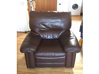 Comfy dark brown leather armchair (matching 3-seater sofa available)