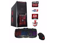 AMD ULTRA FAST A8 Quad Core 16GB 250GB SSD + 1TB HDD AMD Desktop Gaming PC Computer