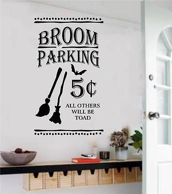 Broom Parking Halloween Decor Removable Vinyl Decal Wall Stickers Letters Words (Halloween Vinyl Lettering)