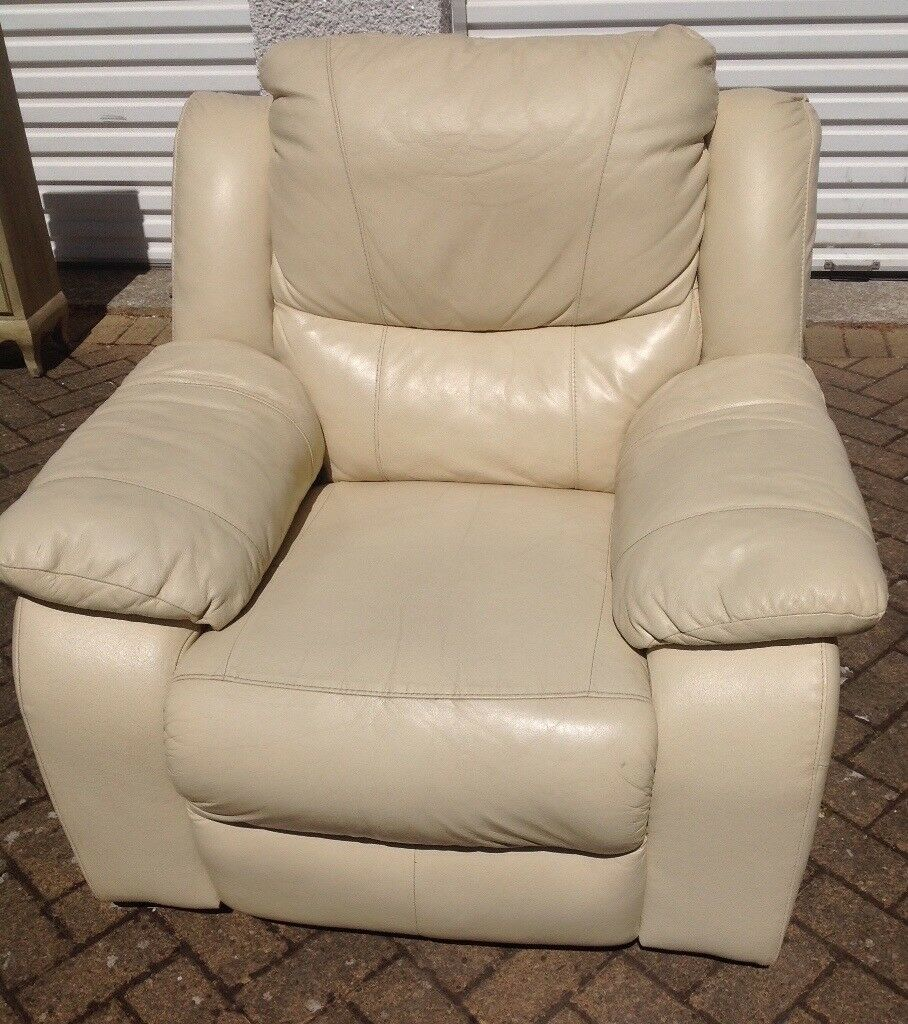 Cream Leather Arm Chair