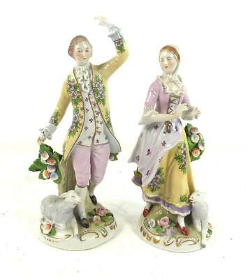 PAIR GERMAN SITZENDORF PORCELAIN FIGURES OF LADY & MAN WITH LAMBS & FLOWERS