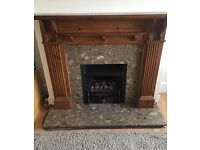 Fireplace gas fire with marble hearth.