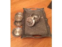Turkish Style Tray, Coasters and Pot with lid & spoon