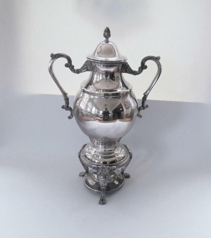 Samovar Coffee Urn with Spigot and Burner Silverplate