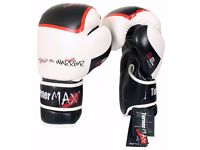TurnerMAX White/Black Boxing Gloves For Boxing, Kickboxing, MMA Or General Workout