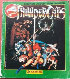 89% complete Vintage 1986 Panini Thundercats Sticker Collection Album & Poster – post or collect