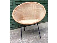 MID CENTURY/RETRO/VINTAGE 1950/60S LLOYD LOOM WOVEN RATTAN HOOP CHAIR