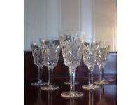 6, Tyrone Crystal wine glasses ANTRIM PATTERN