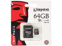 Kingston Technology 64 GB microSDXC Class 10 Flash Card with SD Card Adapter