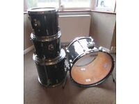 "DRUM KIT shell pack BLACK - 22"" Bass Drum 16"" Floor Tom 13"" & 12"" Rack Tom by Stagg"