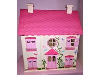 Wooden Doll's House with dolls and all furniture