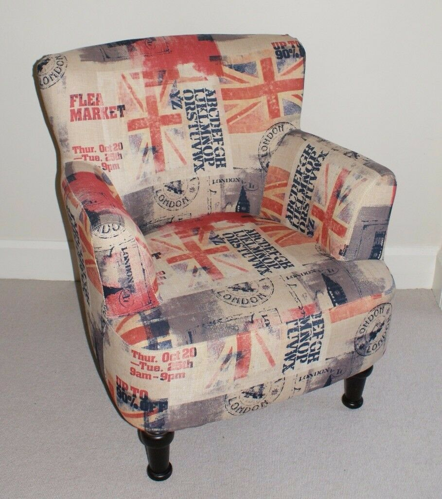 Chair in Trendy Union Jack fabric, Beige with red/blue/grey flag. Excellent Condition