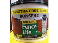 RONSEAL ONE COAT FENCE LIFE - MEDIUM OAK 12 LTR. X 2 UNUSED. (£12 for the two tubs - not each)