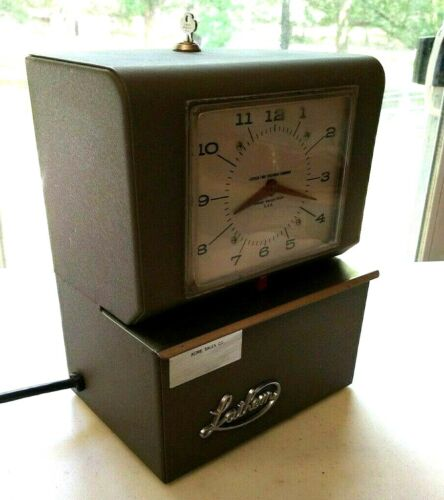 Vintage Lathem Mechanical Time Clock Recorder with Key HD Steel Gray Wall Mount.