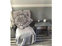Pretty silver grey brocade bedroom chair