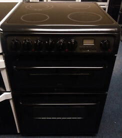 £190 Black Hotpoint 60cm Ceramic Top Cooker - 12 Months Warranty