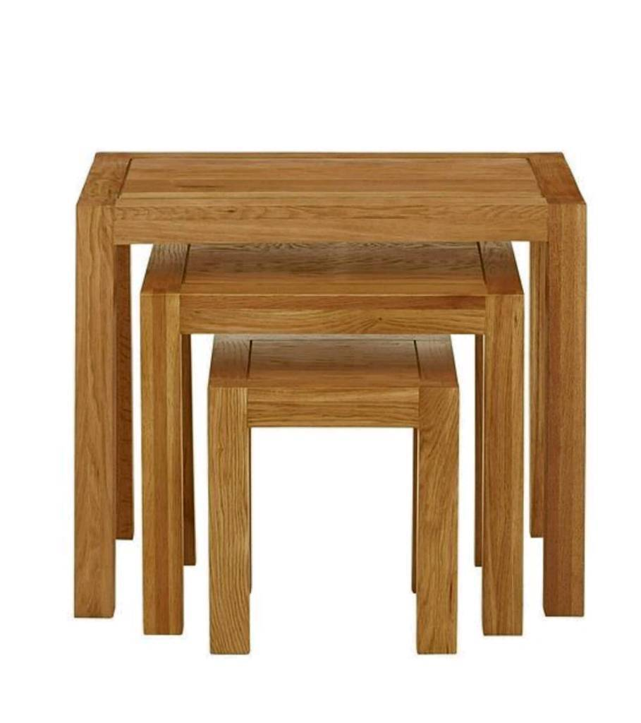 Luxe collection suffolk 100 solid oak ready assembled nest of tables