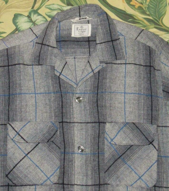 Vtg 60s LANIER Gray Blue Plaid Wool Blend Longsleeve Loop Collar Shirt Small S