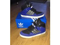 Black & blue addidas high tops size 6