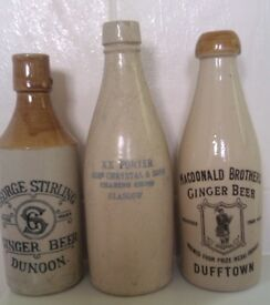 WANTED WANTED - Old pottery Scottish Ginger Beer bottles pot lids and cream pots