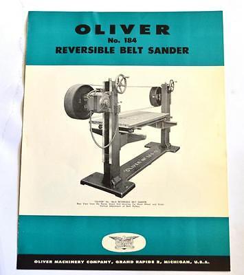 Oliver Machine 184 Reversible Belt Sander Brochure