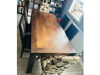Solid Dark Oak - Wooden Dining Table and Chairs