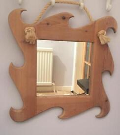 Handmade wooden mirror with rope tie, beautiful nautical look mirror, frame measures 22' square.