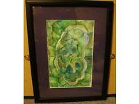 Original Painting 'Green Stone' Watercolour and Pencil Crayon