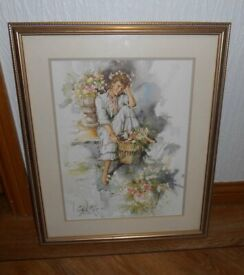 Large Gordon King print of a lady (with gold tone frame)