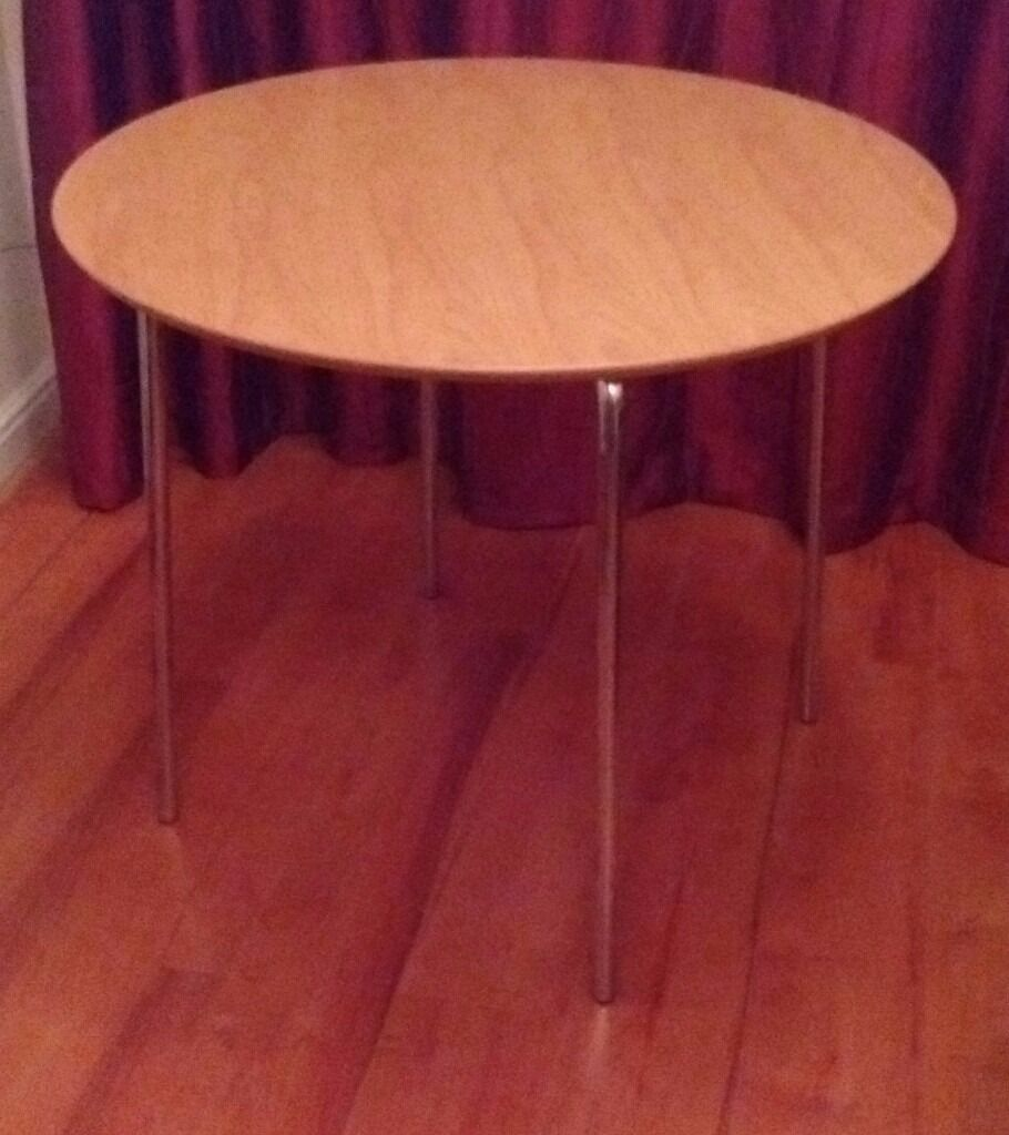 Kitchen Or Dining Table Beech Finish Round 90cms 3 Feet Detachable