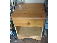 Pine Bedside Table - 1 drawer with space underneath