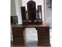 Solid pine dressing table with triple mirror and stool