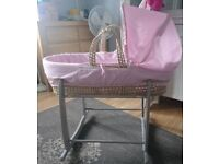 Pink Moses basket and grey rocking stand