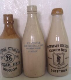 WANTED - Old pottery Scottish Ginger Beer bottles pot lids and cream pots