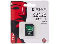 Kingston 32GB SD Cards SDHC Class 10 (six available)