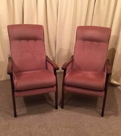 High Back Easy Chairs - Pink OAP Armchairs