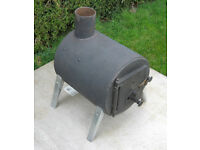Small steel woodburning stove with flue pipe, converter etc., wood burning stove, wood burner