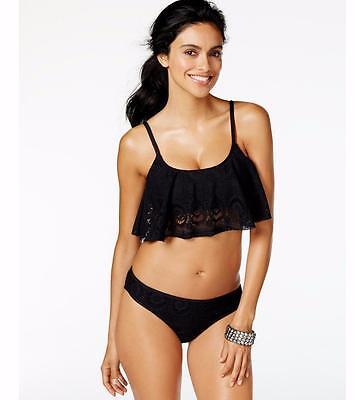NWT NEW Kenneth Cole Black Suns Out Buns Out Crochet Bikini Swimsuit Medium mr08