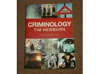 Criminology by Tim Newburn book. Set book for Criminology at Lincoln Uni