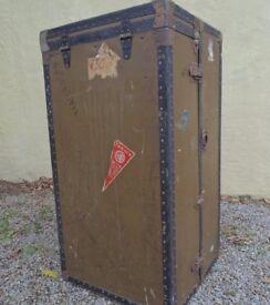 Vintage wardrobe trunk for restoration