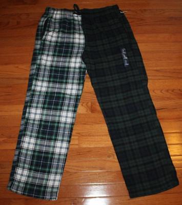 NWT Mens GAP Flannel Drawstring Pajama Lounge Pants Green/White/Blue Plaid *6S