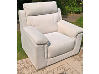 Ex-display Cream Natural Fabric Material Arm Chair