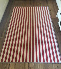 Red/White Striped Rug - 196cm x 133cm