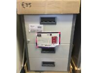 NEW 3 Drawer Lockable Grey/White A4 Filing Cabinet H67cm x W40cm X D40