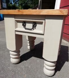 Thick pine side table painted Annie Sloan 'Country Grey'