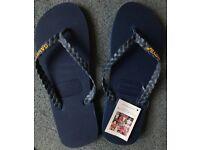 Brand New Gandys Navy Blue Flip Flops UK 9/10 (43/44)