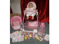 Baby Annabell Doll, Highchair / Swing, Car Seat, Bath + Lots of Accessories