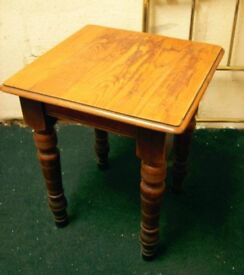 BAR TABLE FROM A FOMER PUB. ANTIQUE, PROBABLY VICTORIAN. CHUNKY THICK TURNED LEGS.