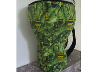Medium 12 Inch Head Djembe Drum Bag Green African Fabric Padded Backpack Style New