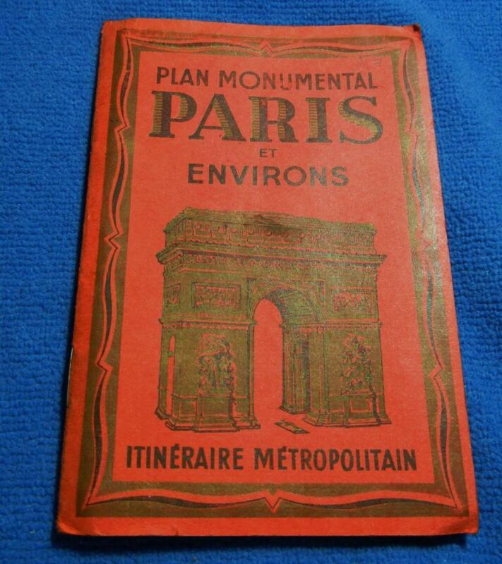 PLAN MONUMENTAL PARIS ET ENVIRONS ITINERAIRE METROPOLITAIN 2 SIDED MAP
